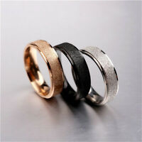 Women Men Stainless Steel Rose Gold Silver Frosted Wedding Ring Jewelry Sz 6-10