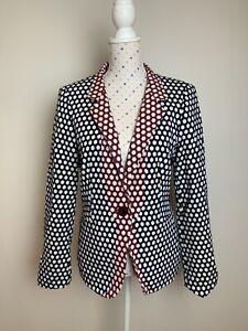 ESCADA Size 40 Jacket Blazer Honeycomb Blue White Red Designer Summer