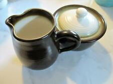 MID CENTURY FRANCISCAN POTTERY CHESTNUT BROWN CREAM SUGAR BOWL ENGLAND