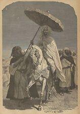 A3458 Sultano del Marocco a cavallo - Incisione - Stampa Antica del 1892