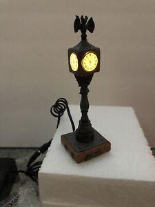 "Dept 56 Halloween Lit Town Clock 5.5"" Lighted Village Accessory Lighted Bat"