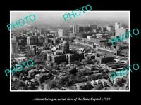 OLD POSTCARD SIZE PHOTO ATLANTA GEORGIA AERIAL VIEW OF THE STATE CAPITOL c1940