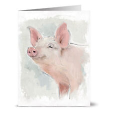 24 Note Cards - Painted Pig - Off White Ivory Envs