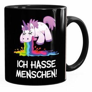 Kaffee-Tasse mit Spruch Ich hasse Menschen kotzendes Einhorn Bürotasse lustige