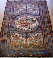 "ANTIQUE KURDISH TRIBAL HAND-KNOTTED WOOL ORIENTAL RUG  4'1"" X 6'2"" EXCELLENT"