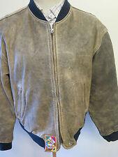 "Vintage Diesel Leather Bomber Harrington Biker Jacket XL 46-48"" Euro 56-58"