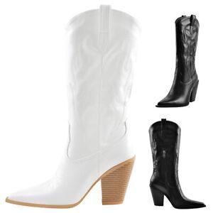 Onlymaker Women's Pointed Toe Zip Up Block High Heel Knee High Cowgirl Boots