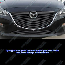 Fits  2014-2015 Mazda 3 Bolt Over Black Billet Grille Combo