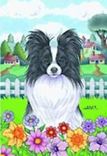 Outdoor Garden Flag Papillon Dog Breed Spring Colors Small Flag made Usa