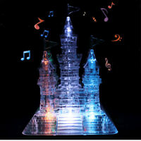 3D Crystal Castle Puzzle Music Flashing Light Jigsaw Model Blocks 105Pcs