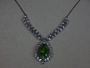 "Genuine Chartreuse Quartz  & White Topaz  Necklace 20""   TGW=   21.90 cts"
