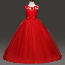 Mädchen Festkleid Kinder Tüll Lange Abendkleid Blumenmädchen Hochzeit Partykleid