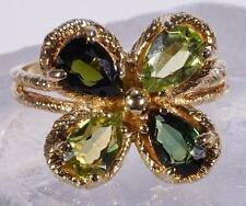 Flowered Shaped Emerald And Peridot Ring Man-Made Stones 14 K Size 5.50