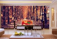 3D Autumn Trees Path 57 Wall Paper Wall Print Decal Wall Deco Indoor Mural Lemon