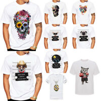 Floral Skull Printed Men's Summer T-Shirt Cotton Short Sleeve White Tee Tops