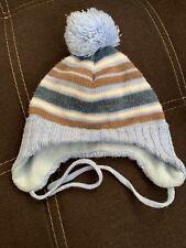 Blaue Baby Mütze zum Binden Gr.62/68