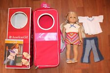 AMERICAN GIRL DOLL JULIE WITH BOOK & CLOTHES SHOES & BACKPACK DOLL CARRIER