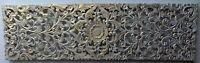 Pannello floreale in legno mdf traforato a mano cm 140x40 bianco oro quadro dipi