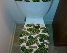 Merlot Wine Green Grapes Fleece Toilet Lid & Tank Cover Set