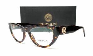 VERSACE VE3280B 108 Havana Women's Cat Eye Eyeglasses 51 mm