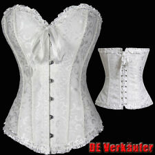 Pop White Bustier Corset Top Burlesque Basque Moulin Rouge Fancy Dress Boned US
