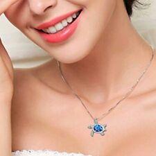 Cute delicate blue turtle necklace pendant C