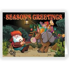 Santa & Stubborn Burro Funny Christmas Card - 18 Cards & Envelopes-KX286a