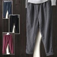 Women's Oversize Loose Long Summer Waist Pants Linen Harem Casual Trousers 6-20