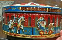 """Sunshine Biscuits decorative carousel tin; vintage look; 9"""" wide"""