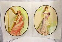 2 Vintage Mixed Media Painting Victorian Ladies Women On Manila Paper