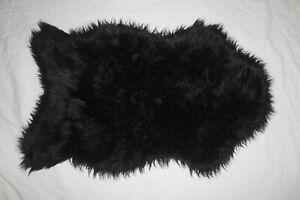 Sheepskin Rug Black 2x3 ft Single Pelt Faux Sheep Wool Fur Rug, Soft Lamb skin