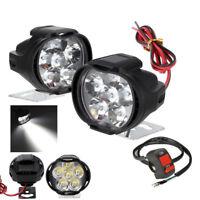 Universal  Spotlight LED Motorcycle Headlight Mirror Mount Fog DRL +Switch Set