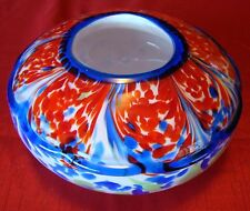 Vintage - Murano - Round Bowl - Thick Glass - Vase - Red - White - Blue & Green