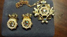 BJ rhinestone and earring set, vintage costume jewelry set, signed