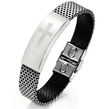 "Unisex Men Women's Stainless Steel Black Rubber Bracelet 8"" G11"