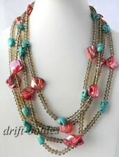 92'' Faceted Crystal Red Shell Baroque Turquoise Necklace