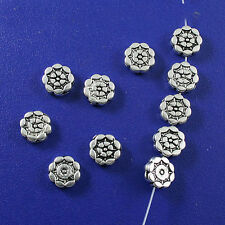35Pcs Tibetan silver FLOWER Round Flat Beads 8mm h0104
