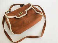 Apt. 9 medium handbag camel faux fur trim soft multi compartments shoulder bag
