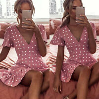 Women Spotted Short Sleeve Skater Dress V Neck Summer Holiday Party Mini Dresses