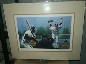 William WS Purdom Signed Matted Bagged Warren Spahn Lithograph Print #983/1500