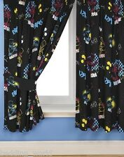 "66""x54"" CURTAINS BART FUNK THE SIMPSONS BLACK BLUE YELLOW RED STARS SKATEBOARD"