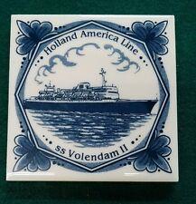 "Holland America Line Blue Delft 3-3/4"" Square Coaster Souvenir - ss Volendam II"