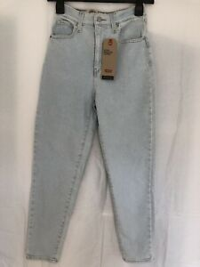 Levis High Waisted Taper Jeans Size W25 L27 Bleach Wash U.K. 6-8