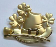 Irish Brooch Pin With Leprechaun Hat, Shamrocks & Pipe SIGNED by AJC Gold Pl NEW