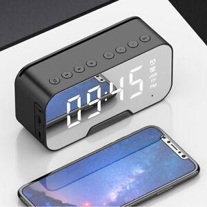 Mirror Digital Wireless LED Dual Alarm Clock Multicolor Function Speaker MP3