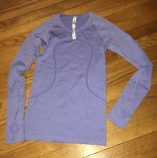 Lululemon Size 4 Run Swiftly Tech Long Sleeve LS Top Blue Striped Yoga Athletic