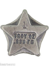 1 TROY OUNCE .999 FINE SILVER HAND POURED BISON BULLION FANCY BAR STAR