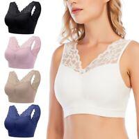 Women Deep V Lace Bra Vest Bralette Push Up Seamless Breathable Padded Sport Bra