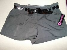 NWT Flirtations Juniors Size 7 Short Belted Shorts Gray with Black Belt