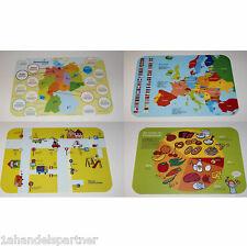 4 x Kinder lernen Deutschland Europa Verkehrsordnung Ernährung Lern Tischset Neu
